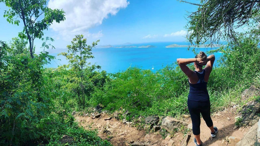 Standing on the mountain top collecting my peace of mind in St. John, Virgin islands