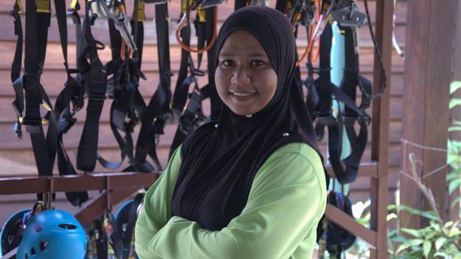Umgawa Zipline Eco-Canopy Tour Trains First S.E. Asian Female Safety Sky Ranger/Guide