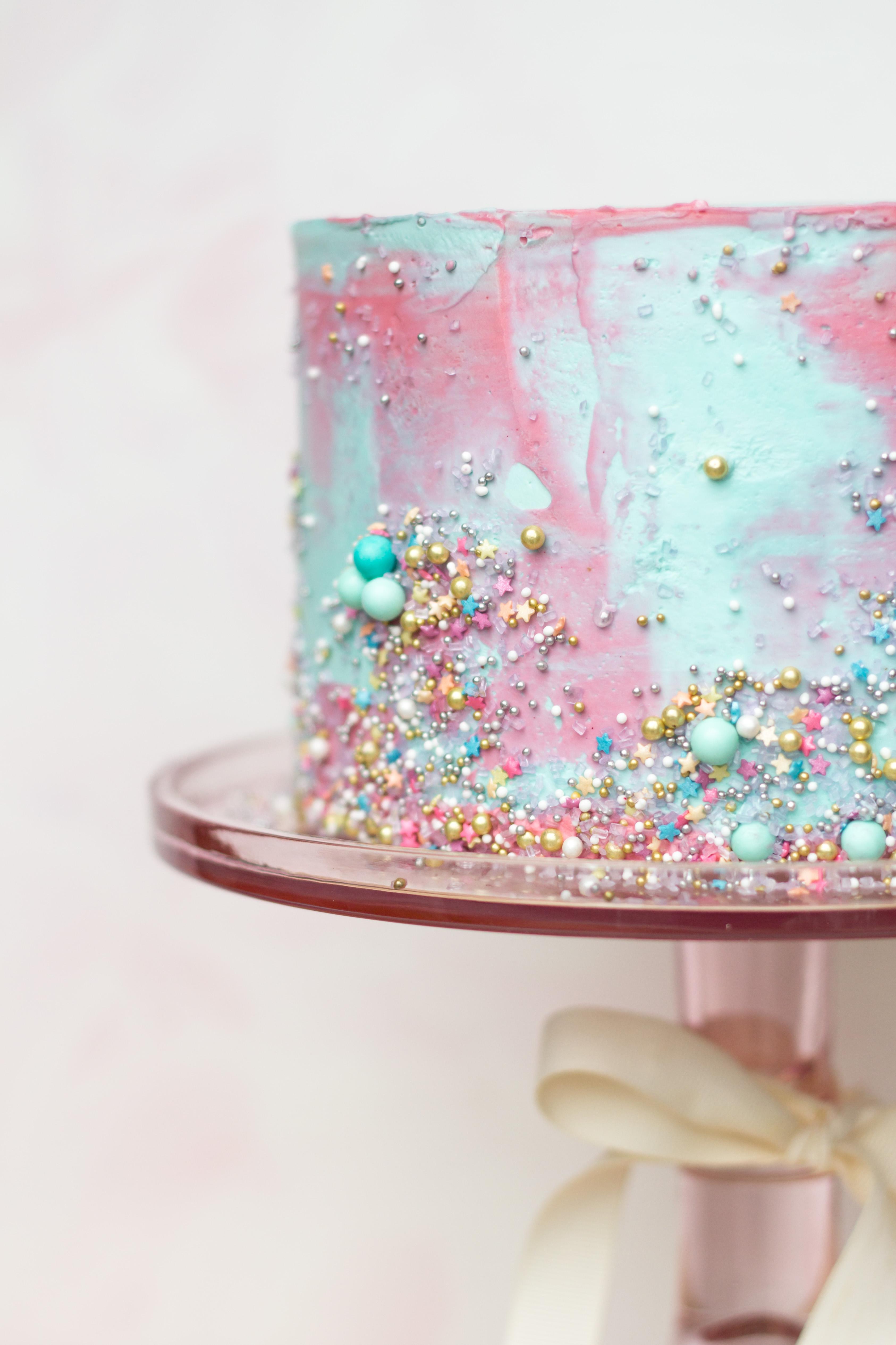 Marble Buttercream Sprinkle Cake