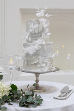 Marble fondant and wafer paper flowers