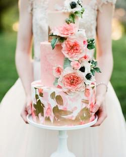 Pink Peach Gold Cake