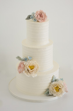 3 tier buttercream & sugar flowers
