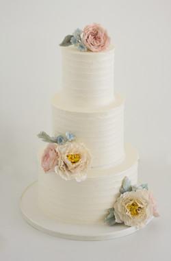 3 tier buttercream & sugar flowers