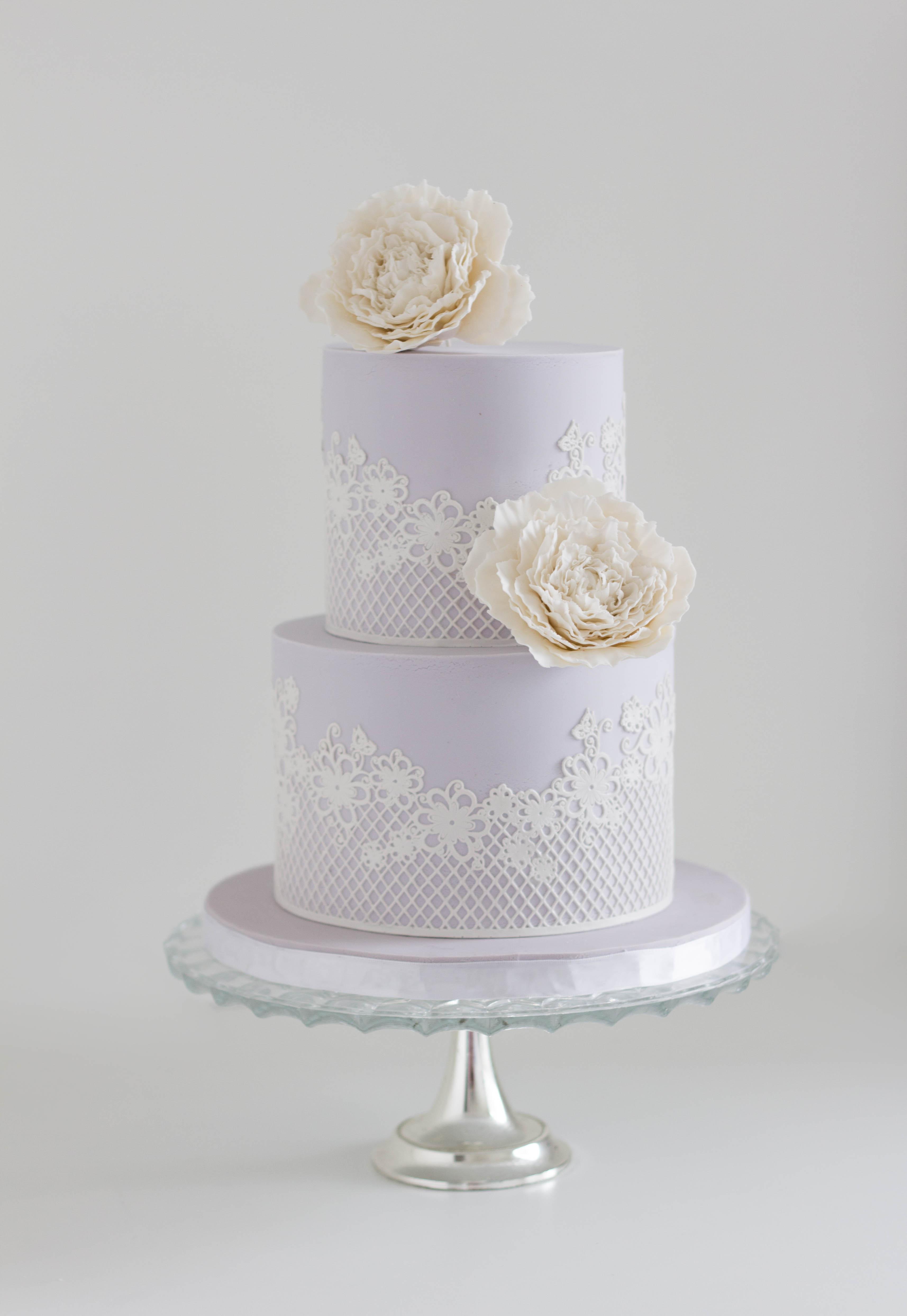 Lilac Peony Wedding Cake