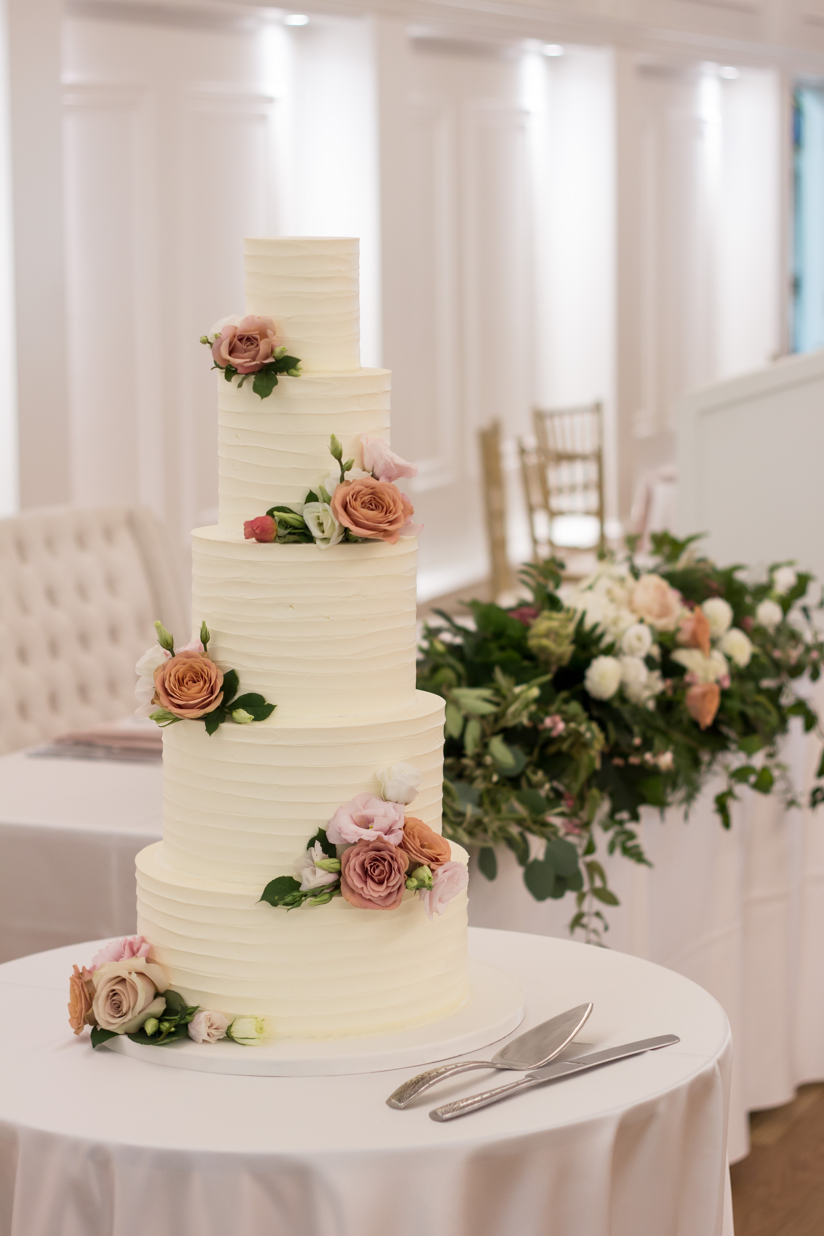 5 Tier Buttercream, fresh flowers