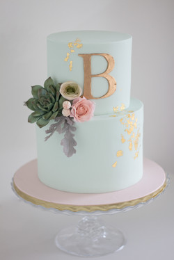 Mint and gold with Sugar flowers