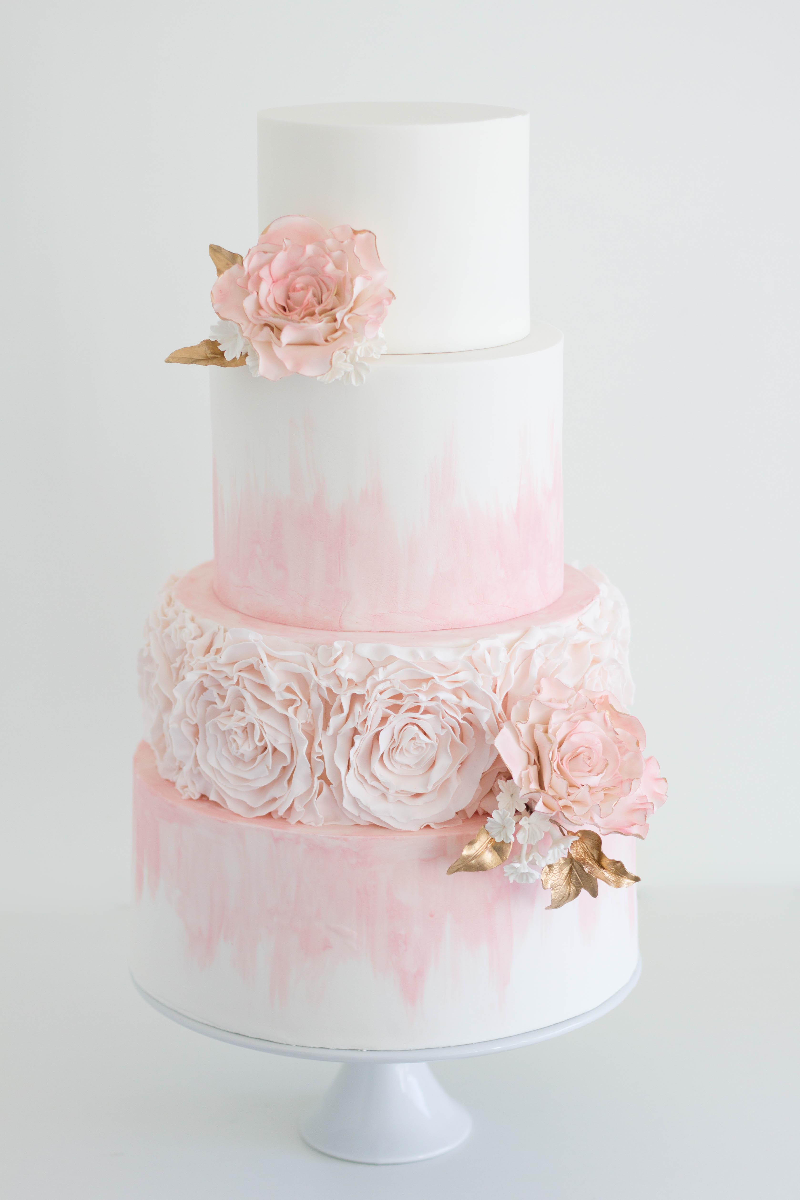 Pink Ruffle Rose Cake