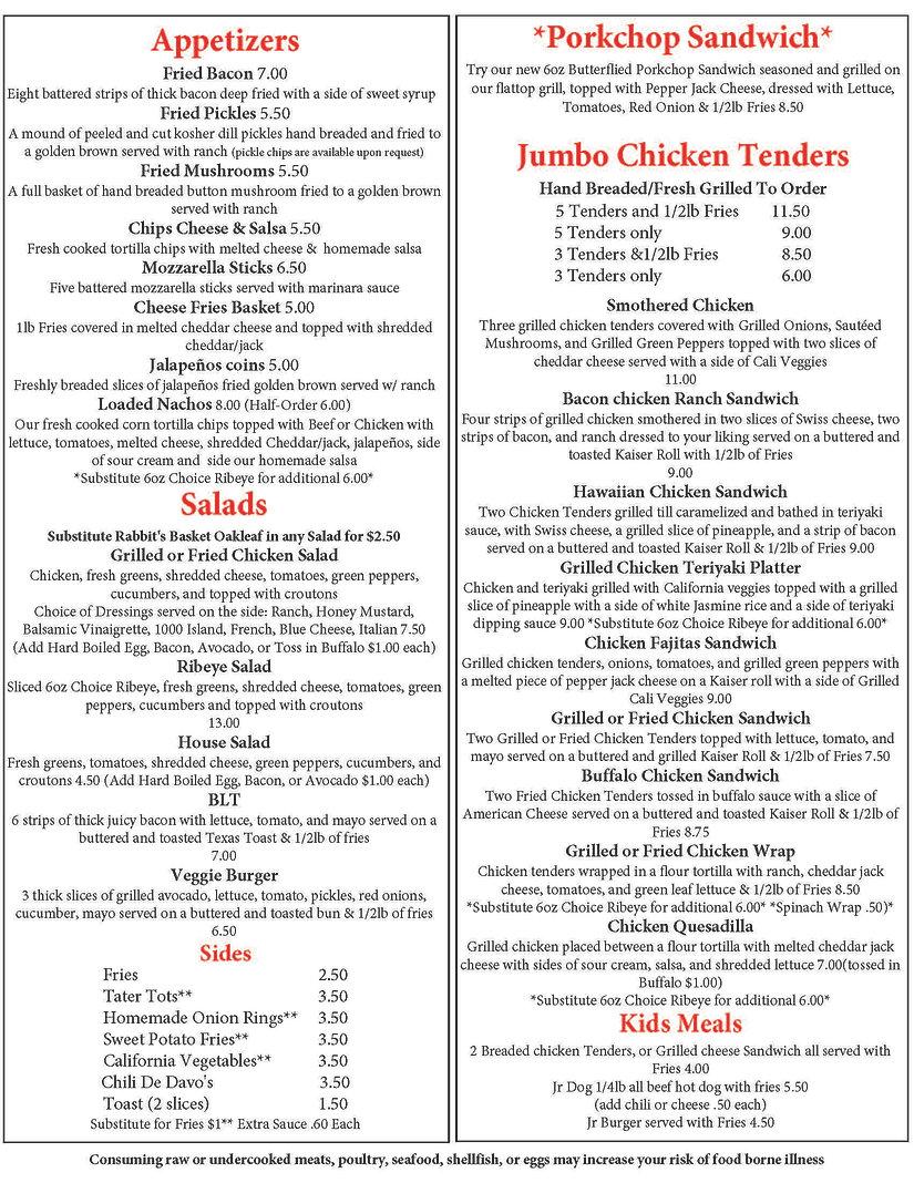 DineIn Togo menu combo corona pricing_Pa