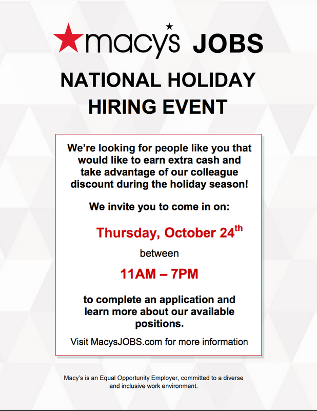 Attention CIS of Atlanta Parents - Macy's Hiring 80,000 People for Holiday Season