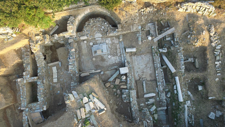 Αεροφωτογραφία του ανασκαμμένου τμήματος της παλαιοχριστιανικής βασιλικής