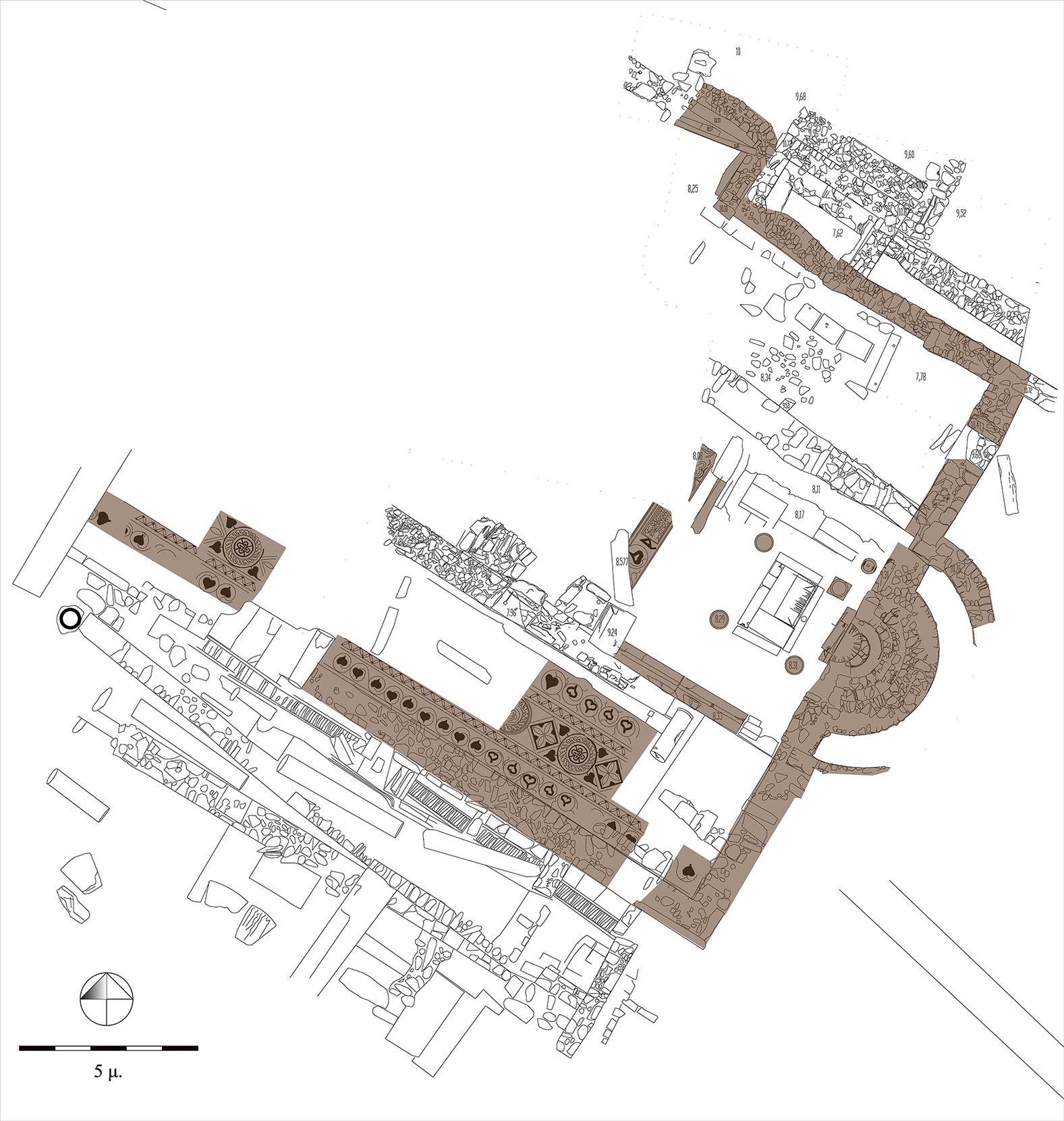 Κάτοψη της πρώτης φάσης της βασιλικής του  δεύτερου μισού του 5ου αι. μ.Χ.