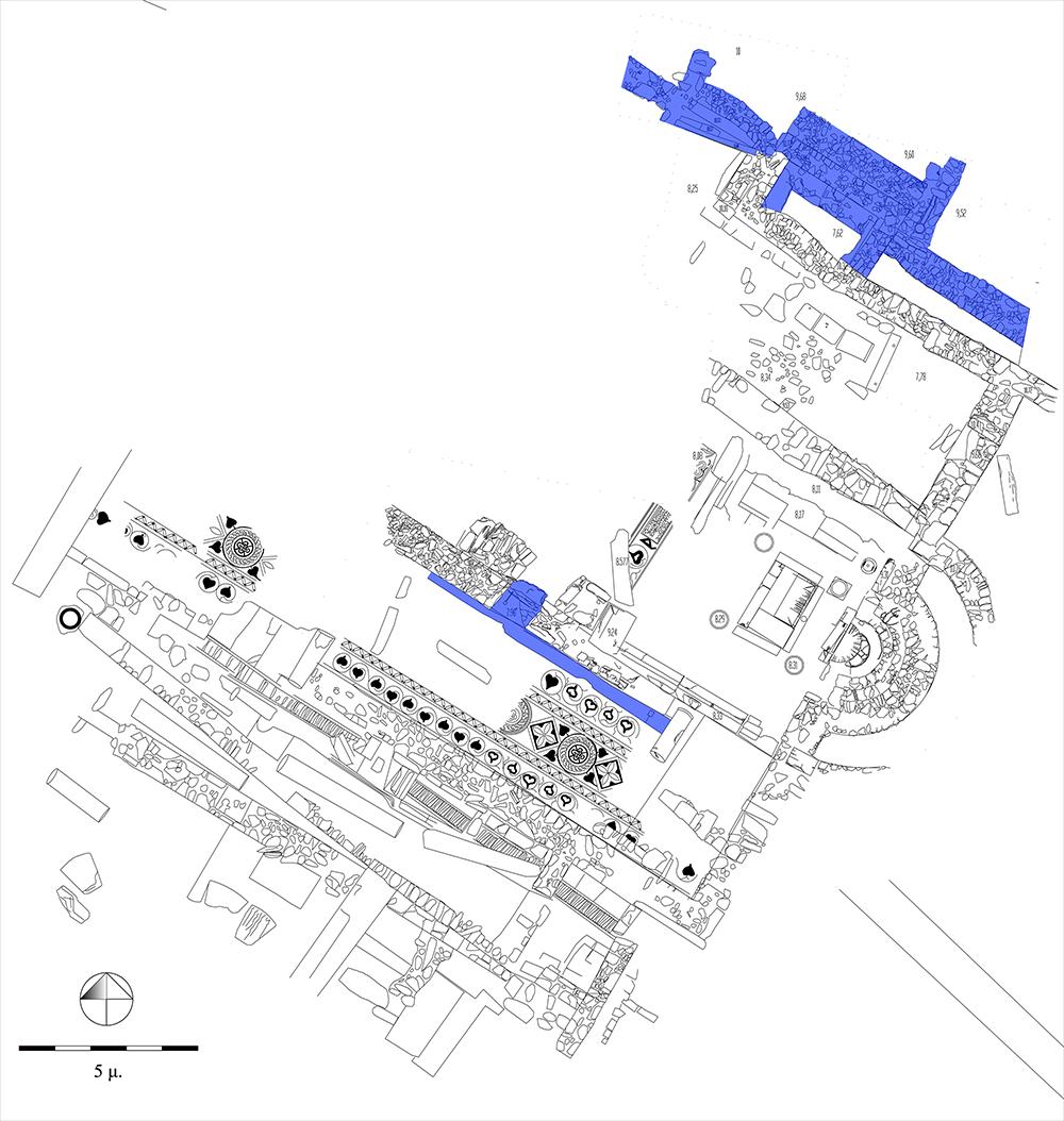 Κάτοψη της ανασκαφής στο κάτω άνδηρο της αγοράς. Τα κατάλοιπα του πρώτου μισού του 2ου αι. π.Χ. (κτή