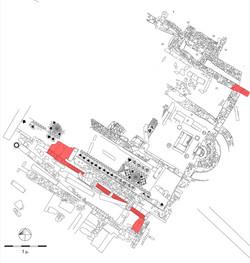 Κάτοψη της ανασκαφής στο κάτω άνδηρο της αγοράς. Τα κατάλοιπα του τέλους 4ου-αρχών 3ου αι. π.Χ. (κτή