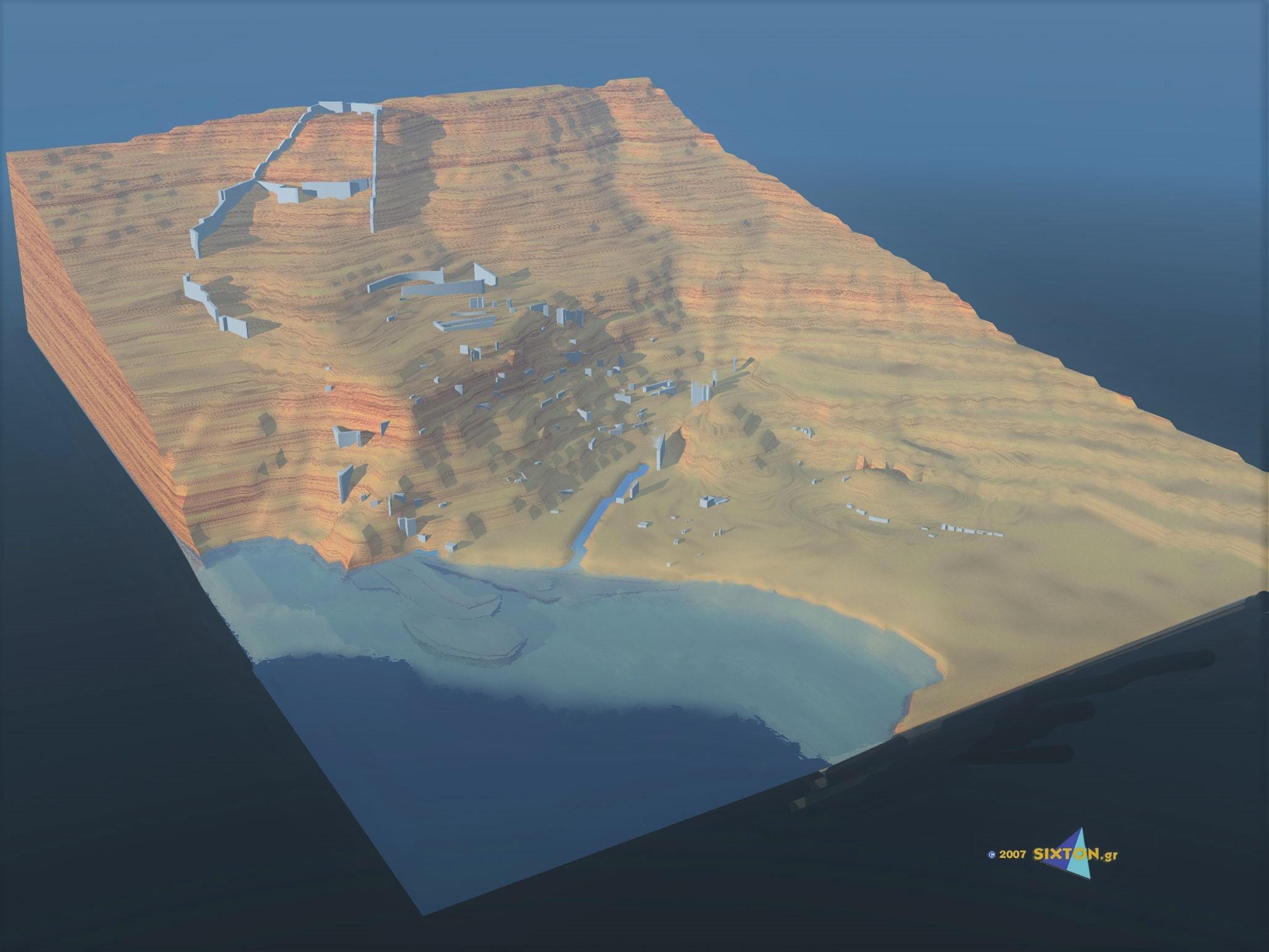 Φωτορεαλιστική αναράσταση της αρχαίας πόλης, με βάση τα ορατά ερείπια