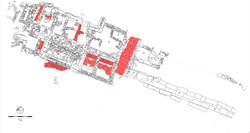 Κάτοψη της ανασκαφής στο άνω άνδηρο της αγοράς. Τα κατάλοιπα του τέλους 4ου-αρχών 3ου αι. π.Χ. (κτήρ
