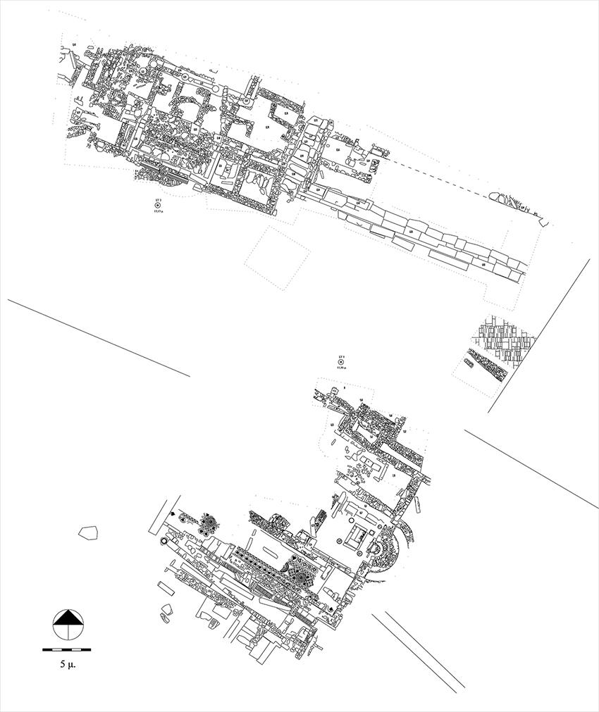 Τοπογραφικό σχέδιο της ανασκαφής της αγοράς της αρχαίας Άνδρου
