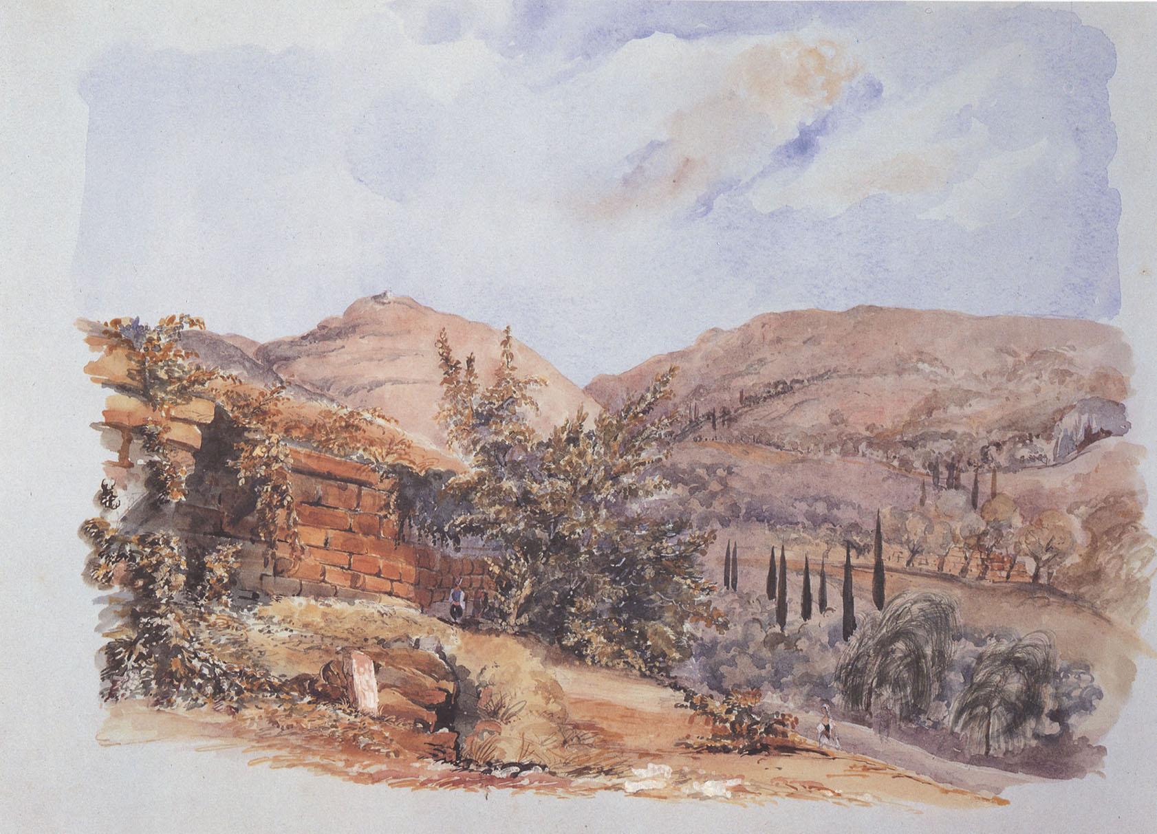 Η περιοχή του ιερού του Απόλλωνος σε υδατογραφία του Arthur Tower (1843)