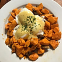 Sweet Potatoes Hash/Shitake Mushrooms and Poached Eggs