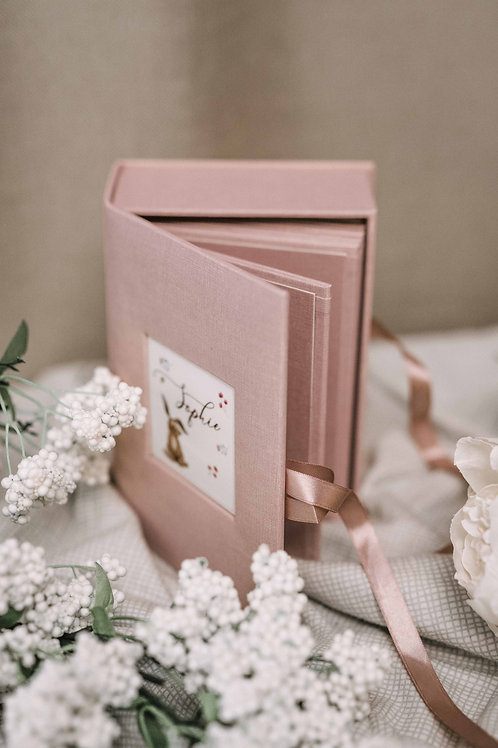 Pink baby keepsake box with place for 12 photos sized 4x6 and personalized text