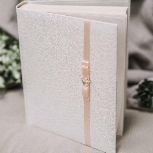 photo album with satin ribbon and diamond decor, 25x21 cm, up to 200 pho