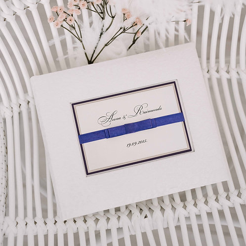 small photo album with satin ribbon, 20x24 cm, up to 60 photos