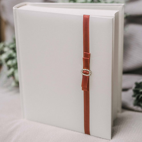 photo album with satin ribbon and diamond decor, 25x21 cm, up to 200 photos