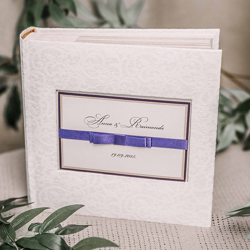 pocket photo album with satin ribbon, 22x22 cm, 200 photos