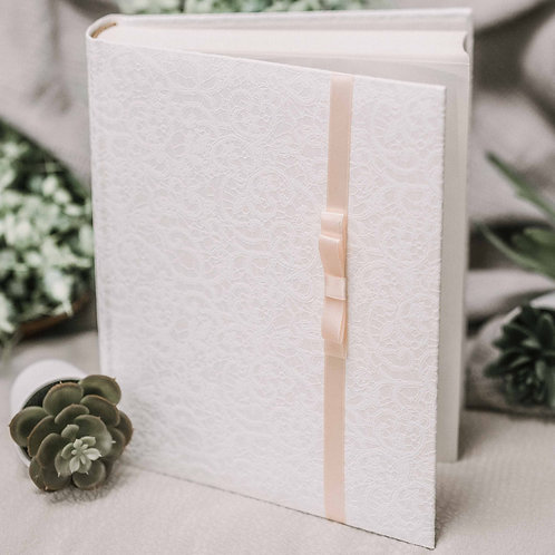 photo album with satin ribbon, 25x21 cm, up to 200 pho