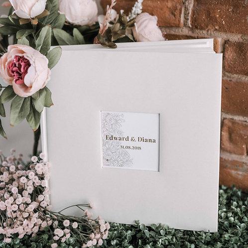 medium photo album with flower card, 31x31 cm, up to 300 photos