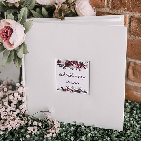 medium photo album with flower card, 31x31 cm, up to 300 photos
