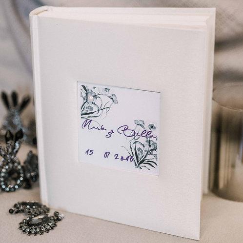 photo album with design card, 25x21 cm, up to 200 photos