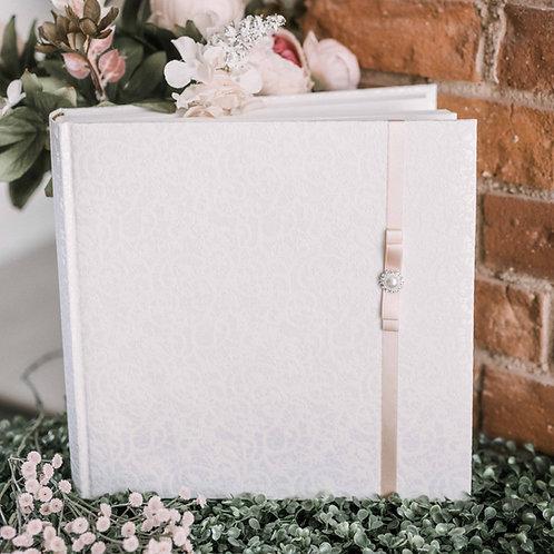 medium photo album with diamond decor on ribbon, 31x31 cm, up to 300 photos