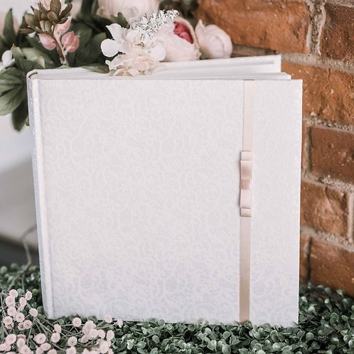 medium photo album with satin ribbon on cover, 31x31 cm, up to 300 photos