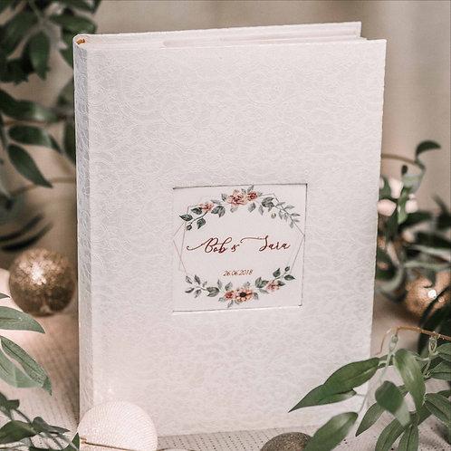 pocket photo album with flower card, 31x22 cm, 300 photos