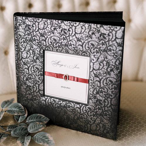 black photo album with diamond decor, 31x31 cm, up to 300 photos