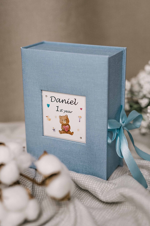 Blue baby keepsake box with place for 12 photos sized 4x6 and personalized text