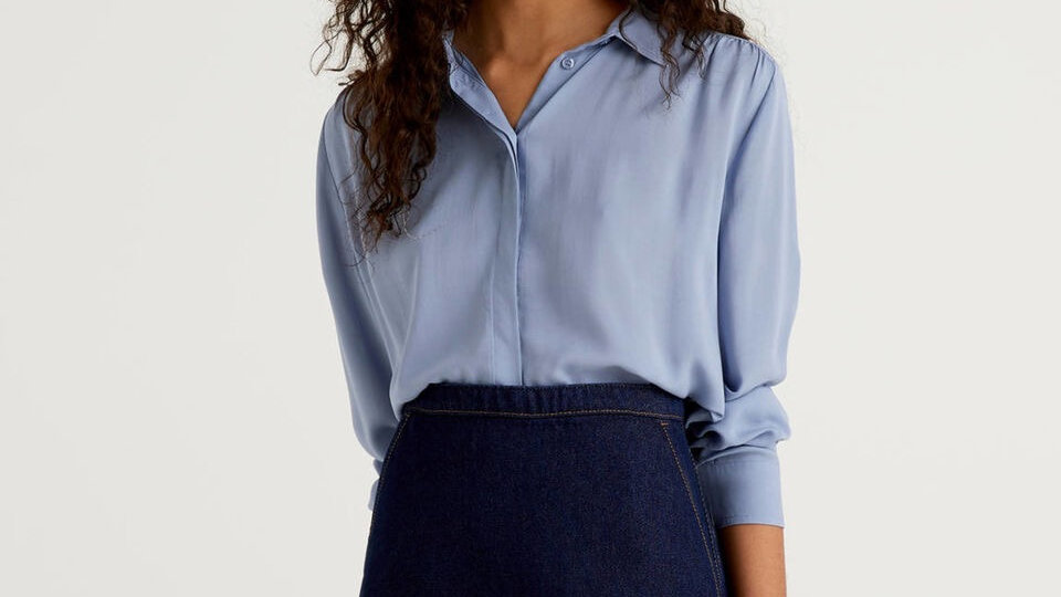 Benetton Flowy Shirt with Rouching