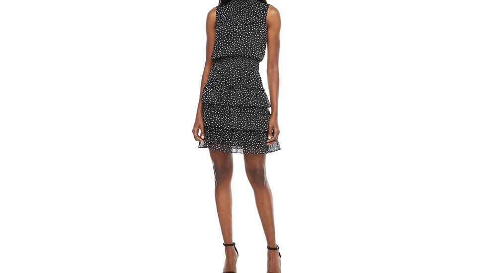 MSK sleeveless dots tiered fit flare