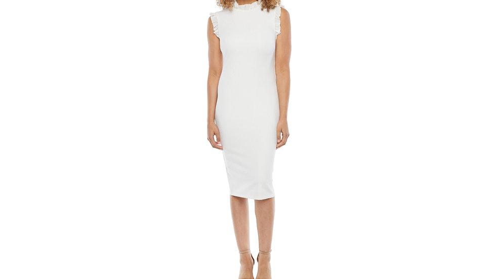 Premier Amour sleeveless ruffle trim sheath dress