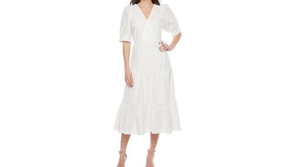 Premier Amour short sleeve eyelet maxi dress