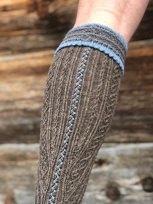 Strumpf Hexenstich braun/ blau