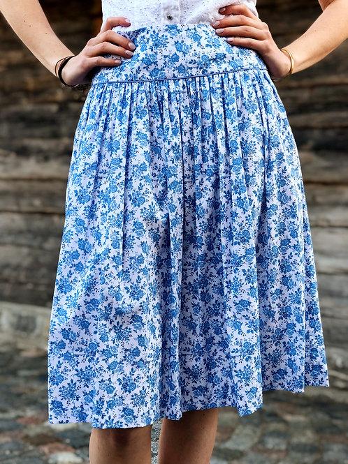 Trachtenrock Blume blau