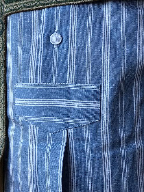 Hemd Stehkragen weiß/blau