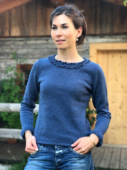 Pullover mit Rüsche Blau 106309