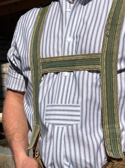 Hemd Stehkragen weiß/blau Streif 6557