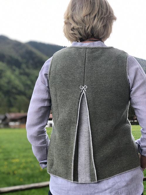 Pullunder mit Rückenfalte Olive/grau