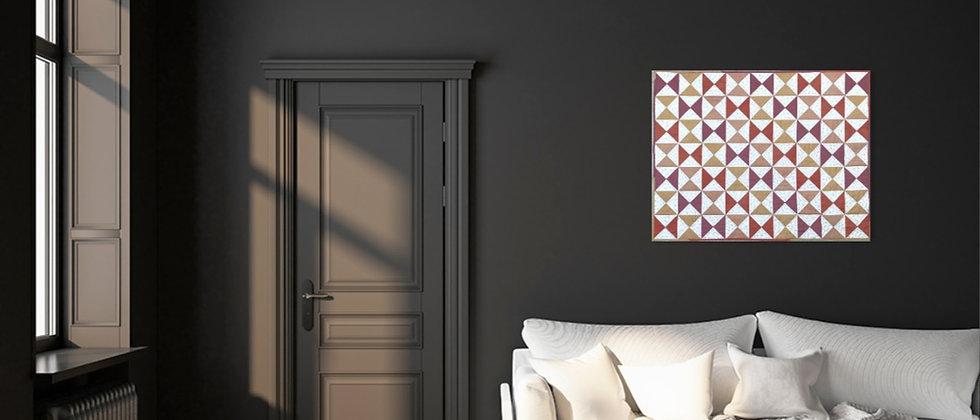 Natuurlijk geverfde zandloper quilt - 80 x 103 cm