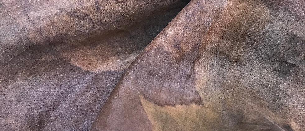 Zijden sjaal met botanische monoprint