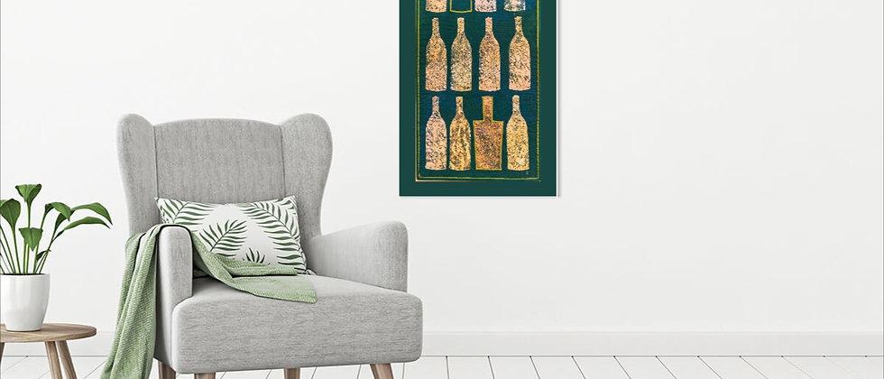 Flessen op groene achtergrond - 44 x 87 cm