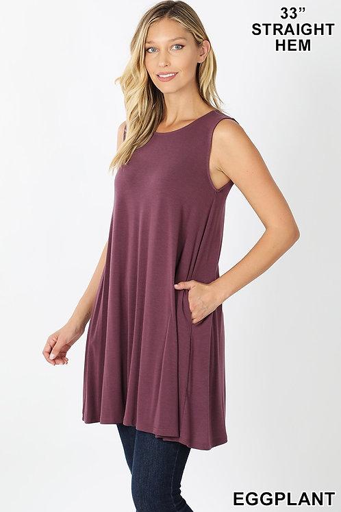 Sleeveless tunic/dress with pockets